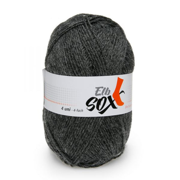 ggh Elbsox 4 uni 004/556, dark grey, sock knitting yarn, 50g, 4ply - I Wool Knit