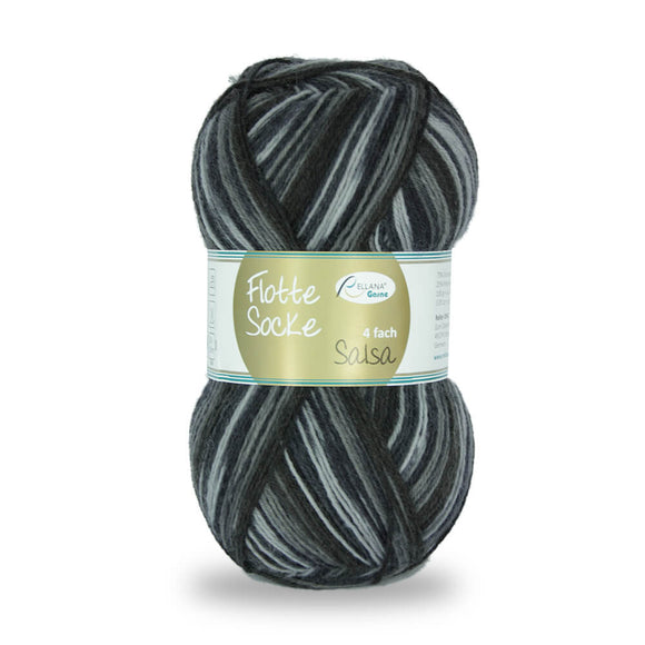 Rellana Flotte Socke Salsa 1280,  grey-black 4ply sock yarn, 100g - I Wool Knit