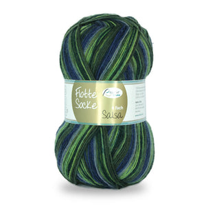 Rellana Flotte Socke Salsa 1282, green-blue 4ply sock yarn, 100g - I Wool Knit