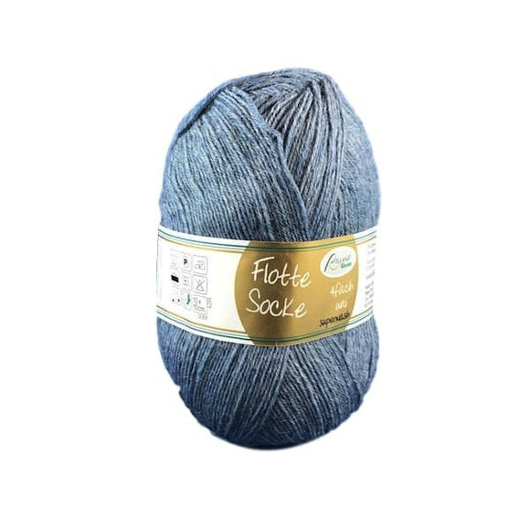 Rellana Flotte Socke uni-colour, denim, weathered, 4ply sock yarn, I Wool Knit