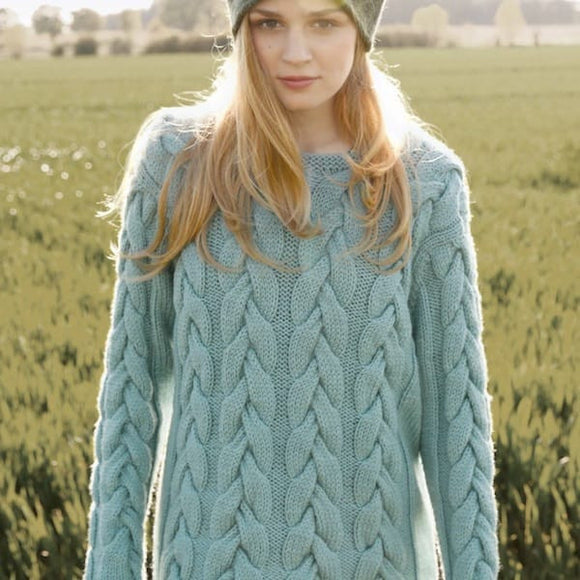 Jumper with broad stitch cables in ggh Sportlife, Rebecca Knit Kit, I Wool Knit