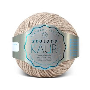 Zealana Kauri Worsted 001 Natural - Merino, possum and silk, 10ply, 50g - I Wool Knit