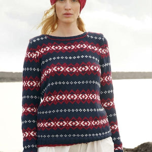 Norwegian jacquard pullover in ggh Volante - Rebecca Knit Kit - I Wool Knit