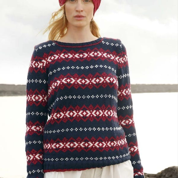 Rebecca pattern jacquard jumper in ggh Volante, Merino and cotton blend - I Wool Knit