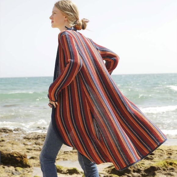 Knitted Coat with Horizontal Stripes in ggh Linova - Rebecca Knit Kit - I Wool Knit