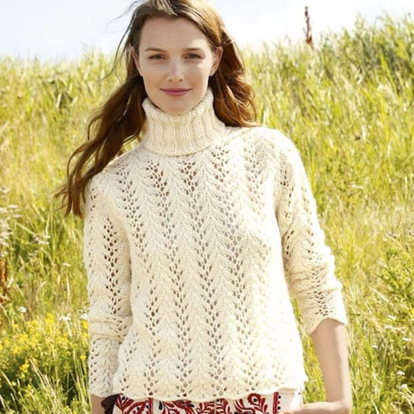 Jumper/ Pullover with Lace Knit Pattern in ggh Sportlife - Rebecca Knit Kit - I Wool Knit