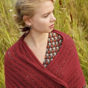 Wide Scarf with Lace Pattern, Rebecca Knit Kit, I Wool Knit