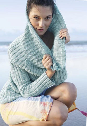 The yarn used for this sweater is ggh Lacy, a beautifully soft Merino and silk blend that comes in a range of colours.