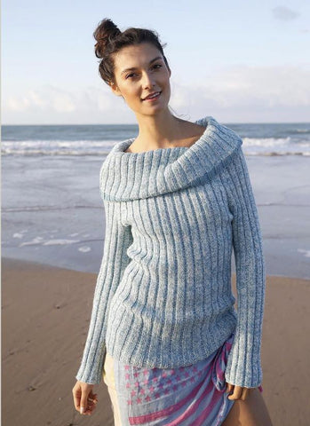 Rebecca sweater with cowl collar in ggh Lacy, I Wool Knit