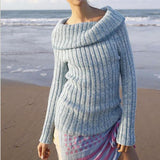 Ribbed sweater with cowl collar in ggh Lacy- Rebecca Knit Kit - I Wool Knit