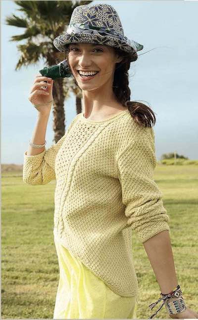 Lacy women's summer sweater Rebecca Knit Kit I Wool Knit