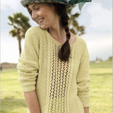 Women's Sweater with Lace Knit Pattern in ggh Linova - Rebecca Knit Kit - I Wool Knit