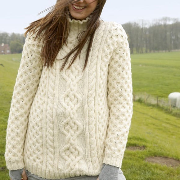 Rebecca ladies knitting pattern, classic Aran cable sweater - I Wool Knit