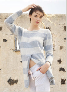 Casual jumper with stripes in ggh Reva - Rebecca Knit Kit - I Wool Knit
