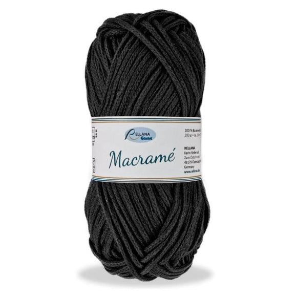 Rellana Macramé 002 black, bulky cotton cord, 200g - I Wool Knit