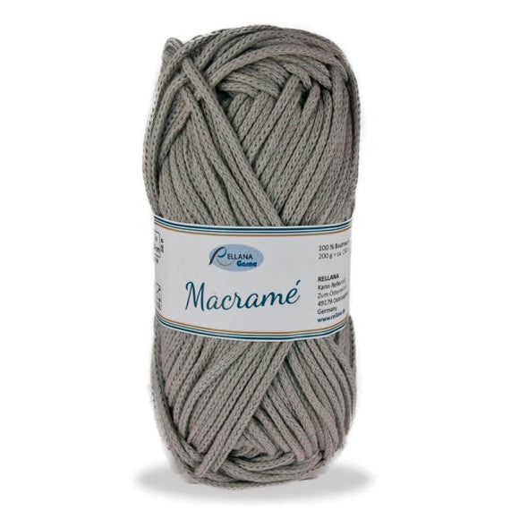 Rellana Macramé 014 grey, bulky cotton cord, 200g - I Wool Knit
