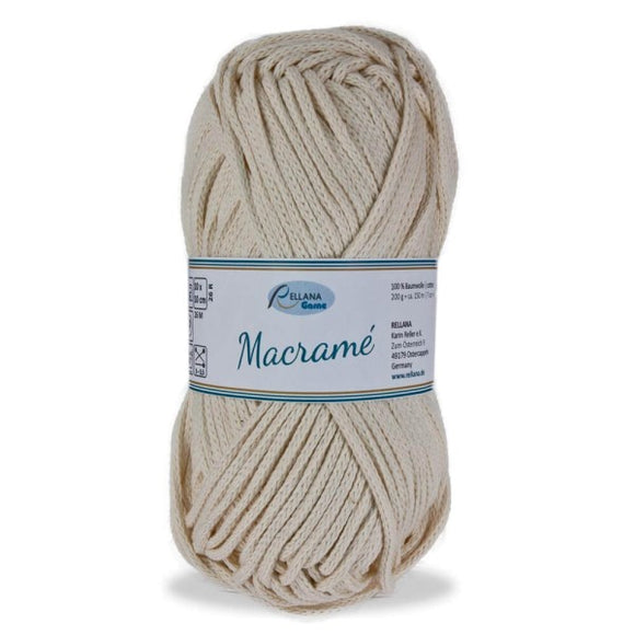 Rellana Macramé 016 ecru, bulky cotton cord, 200g - I Wool Knit