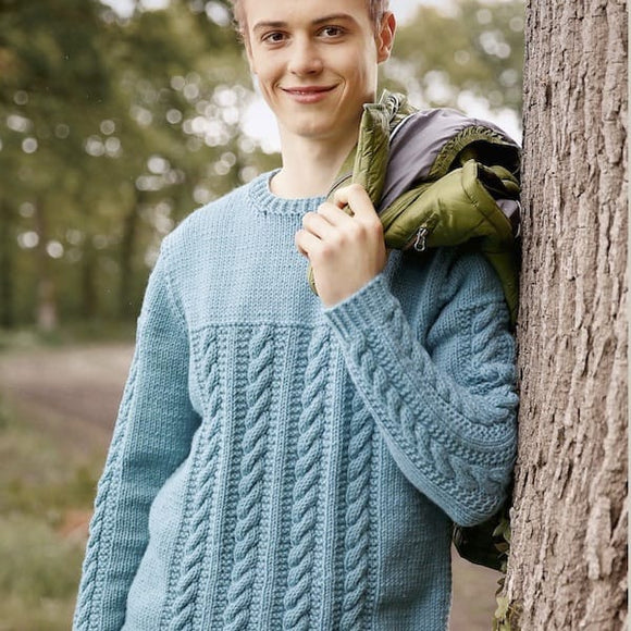 Men's cabled sweater in ggh Sportlife - Rebecca Knit Kit - I Wool Knit