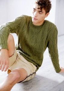Men's Sweater with Cable Ribs in ggh Wollywasch - Rebecca Knit Kit - I Wool Knit