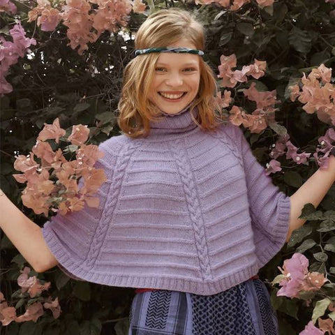 Mini Poncho in ggh Lacy yarn, Rebecca Knit Kit, I Wool Knit
