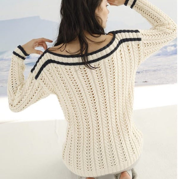 Sweater with Lace ribbing - Rebecca Knit Kit