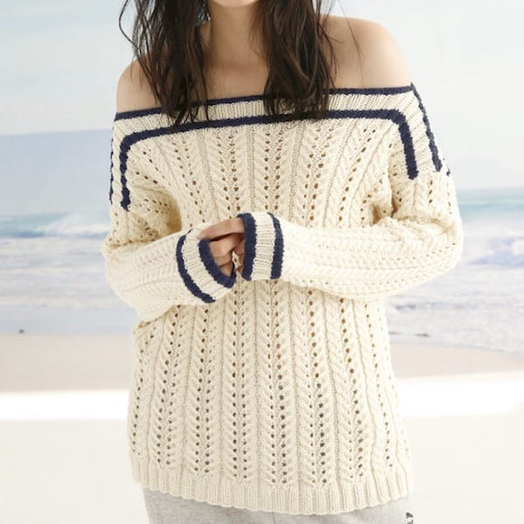 Rebecca Knit Kit: Nautical Sweater with Lace Ribs - I Wool Knit