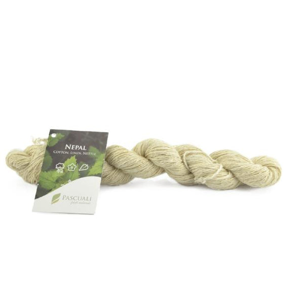 Pascuali Nepal 00 undyed. Cotton, linen and nettle, 50g - I Wool Knit
