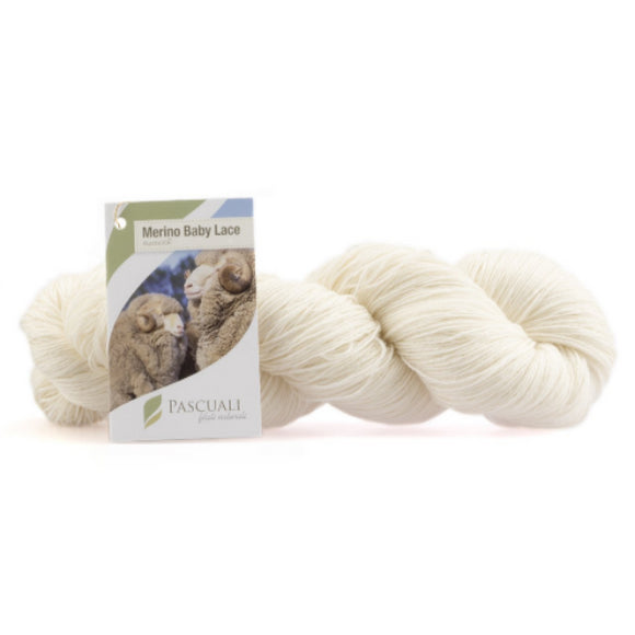 Pascuali Merino Baby Lace yarn. 100g skein natural. I Wool Knit