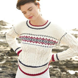 Jumper with jacquard pattern and cables in ggh Volante, Rebecca Knit Kit - I Wool Knit