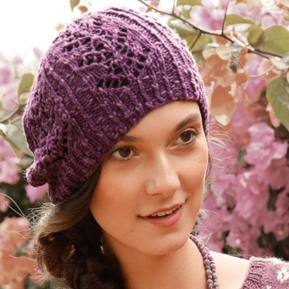 Beanie with Lace Pattern in ggh Manila - Rebecca Knit Kit - I Wool Knit