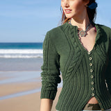 Woman's Cardigan with Diagonal Cables in Linova - Rebecca Knit Kit - I Wool Knit
