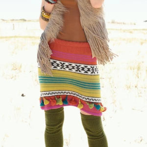 Knitting pattern for multi-coloured skirt. Rebecca Knit Kit. ggh Baby Alpaca yarn. I Wool Knit