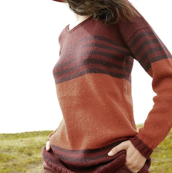 Long Striped Sweater in ggh Wollywasch - Rebecca Knit Kit - I Wool Knit