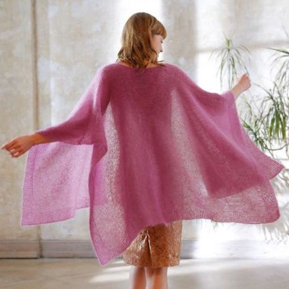 Large shawl/poncho in ggh Kid - Rebecca Knit Kit - I Wool Knit