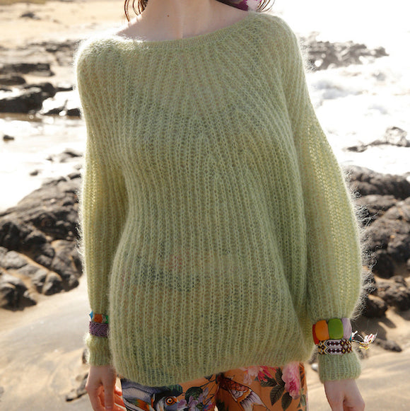 Mohair jumper in Fisherman's Rib - Rebecca Knit Kit, available from I Wool Knit