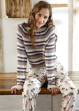 Raglan jumper with stripes in ggh Volante - Rebecca Knit Kit - I Wool Knit