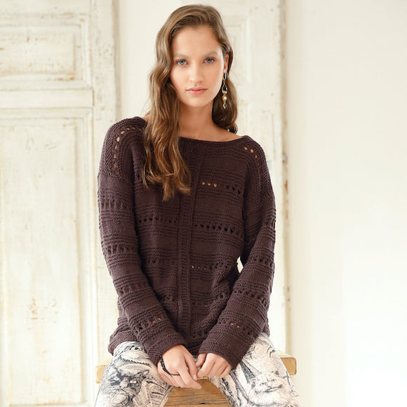 jumper with lace ribs in ggh Linova. Rebecca Knit Kit