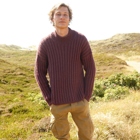 Men's Norvika Sweater in Mock Fisherman's Rib - Rebecca Knit Kit - I Wool Knit