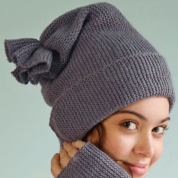 Easy Beanie for Beginners in ggh Lacy - Rebecca Knit Kit - I Wool Knit