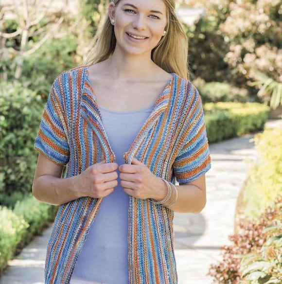 Open Jacket in Xenia cotton ribbon yarn - Pattern OR Knit Kit - I Wool Knit