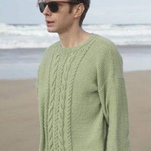 Men's cabled sweater in ggh Linova - Rebecca Knit Kit - I Wool Knit