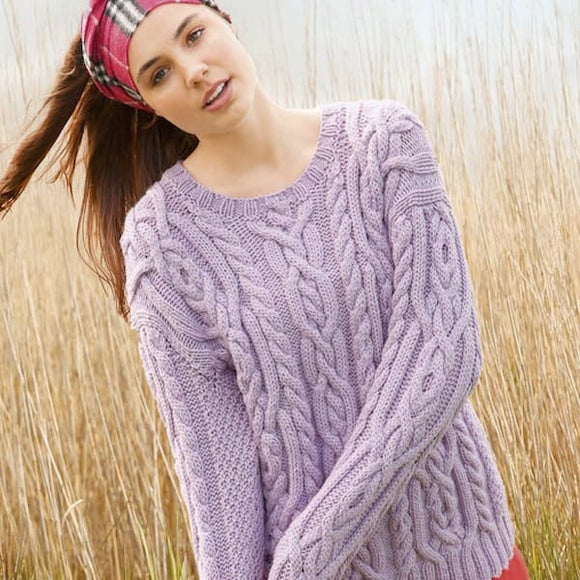 Cable Sweater in ggh Sportlife wool yarn, Rebecca Knit Kit, I Wool Knit