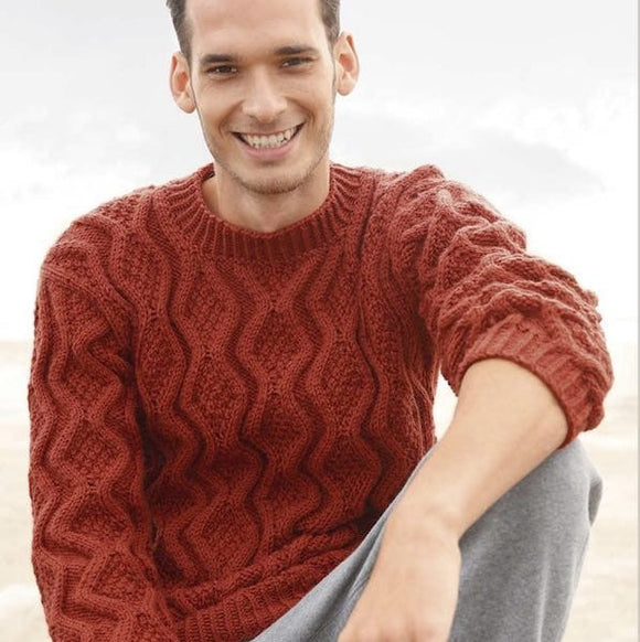 men's sweater with rhombic pattern, Rebecca Knit Kit, I Wool Knit