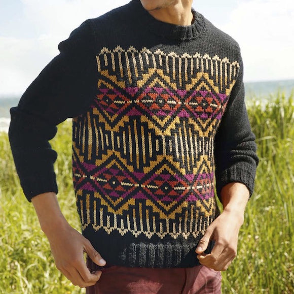Men's sweater with jacquard colour work in ggh Sportlife - Rebecca Knit Kit - I Wool Knit