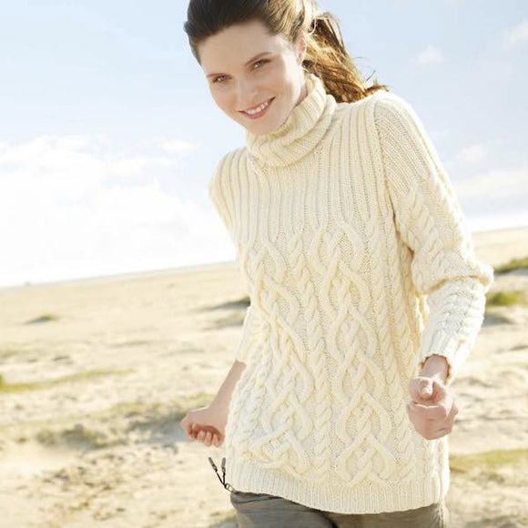 Jumper with cable pattern in ggh Sportlife - Rebecca Knit Kit