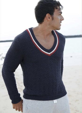 Maritime sweater with diamond pattern in ggh Volante - Rebecca Knit Kit