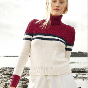 Women's pullover with cable pattern in ggh Volante - Rebecca Knit Kit - I Wool Knit