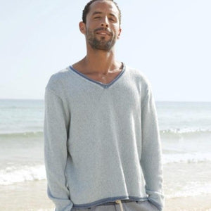 Men's V-neck jumper in ggh Reva - Rebecca Knit Kit - I Wool Knit