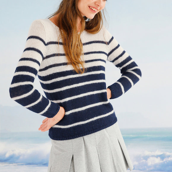 Sweater with Stripes in ggh Baby Alpaca Fino - Rebecca Knit Kit - I Wool Knit