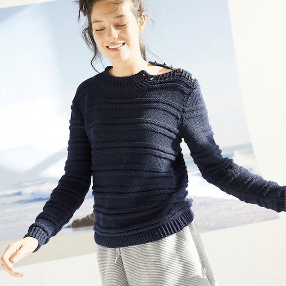Sweater with horizontal ribs in ggh Volante - Rebecca Knit Kit - I Wool Knit